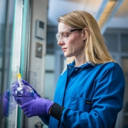 Dr. Sarah Buhrlage in her lab